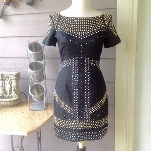 French Connection black beaded mini dress SZ 4
